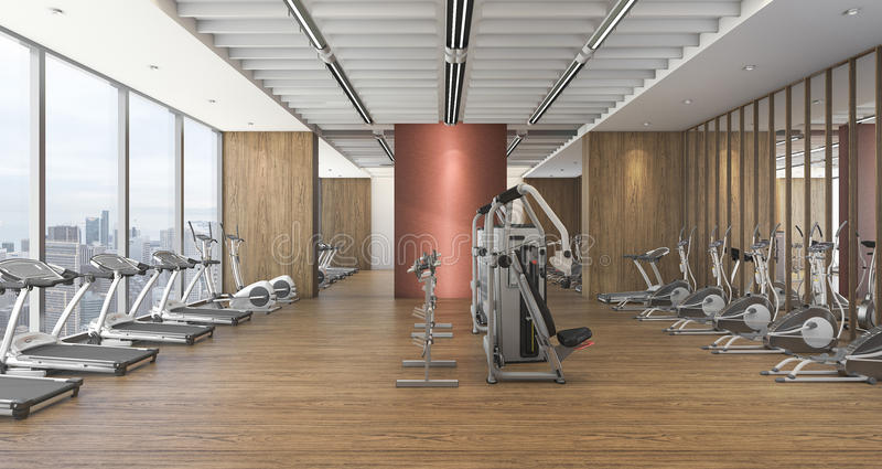 Fitnessraum modern  3d Rendering Modern Wood Gym And Fitness With Beautiful View Stock ...