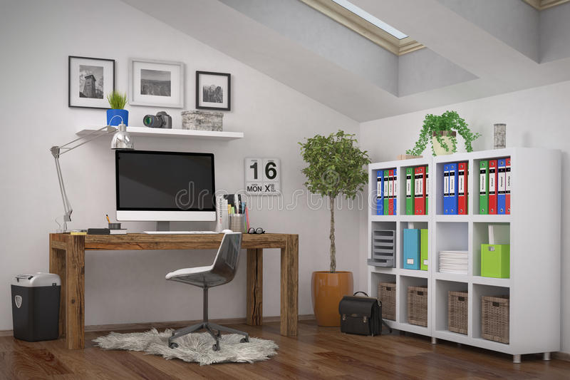 3d rendering modern workplace home office stock illustration illustration of structure. Black Bedroom Furniture Sets. Home Design Ideas