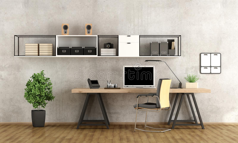 3d rendering of a modern workspace. Contemporary home office with laptop on minimalist desk - 3d rendering