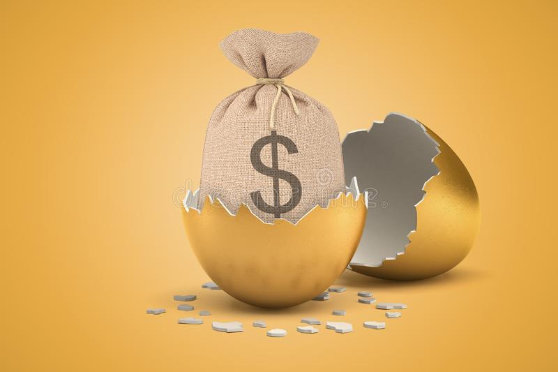 3d rendering of money sack hatching out of golden egg on yellow background royalty free illustration