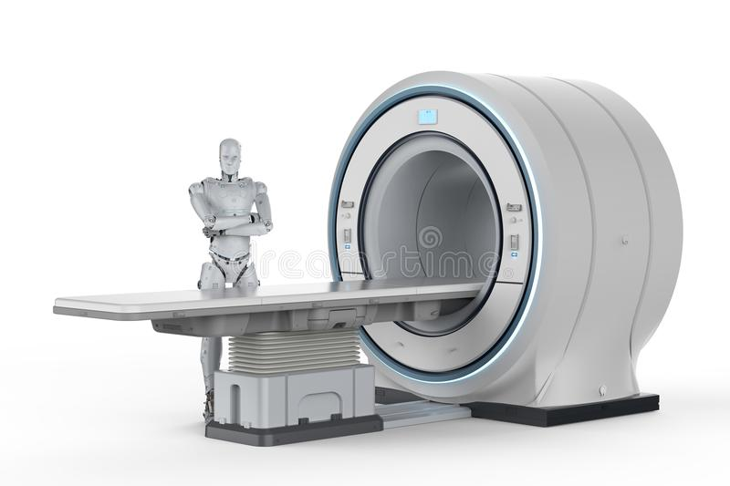 Robot with mri scan vector illustration