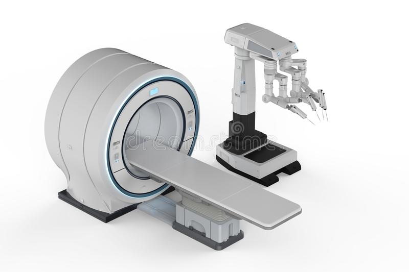 Mri scan with robot surgery vector illustration