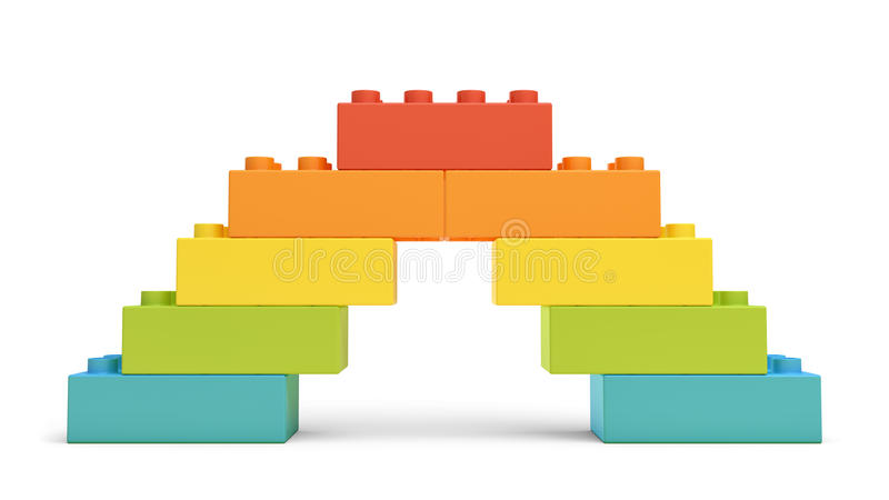 3d rendering of multi-colored toy blocks making up a rainbow bridge. royalty free illustration