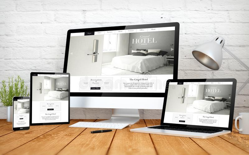 hotel website responsive design screen multidevices royalty free stock photo