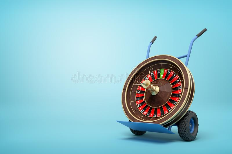 3d rendering of navy blue hand truck standing upright with casino roulette wheel on it on light-blue background. Gambling business. Gambling addiction. Make vector illustration