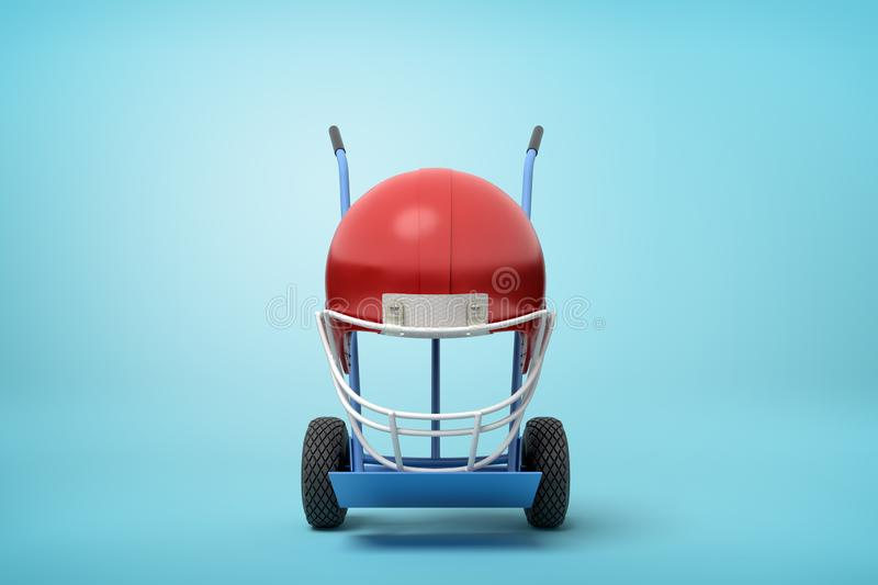 3d rendering of navy blue hand truck standing upright with red sport helmet on it on light-blue background. royalty free illustration