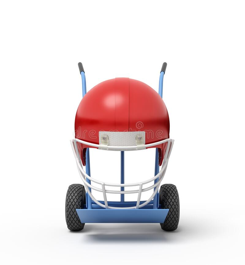 3d rendering of navy blue hand truck standing upright with red sport helmet on it. vector illustration