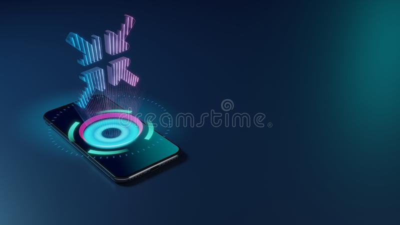 3D rendering neon holographic phone symbol of compress arrows icon on dark background stock illustration