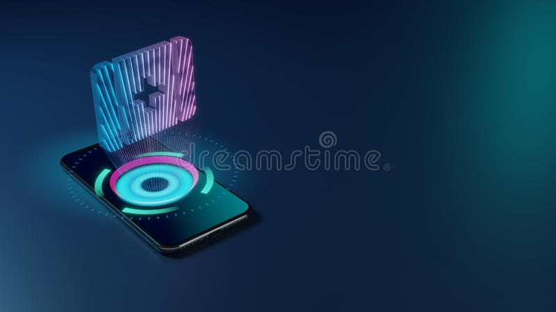3D rendering neon holographic phone symbol of first aid icon on dark background stock illustration