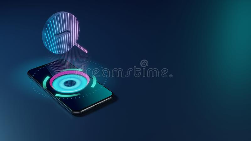 3D rendering neon holographic phone symbol of magnifier zoom out icon on dark background royalty free illustration
