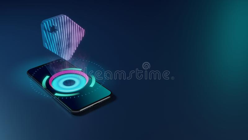 3D rendering neon holographic phone symbol of tag icon on dark background stock illustration