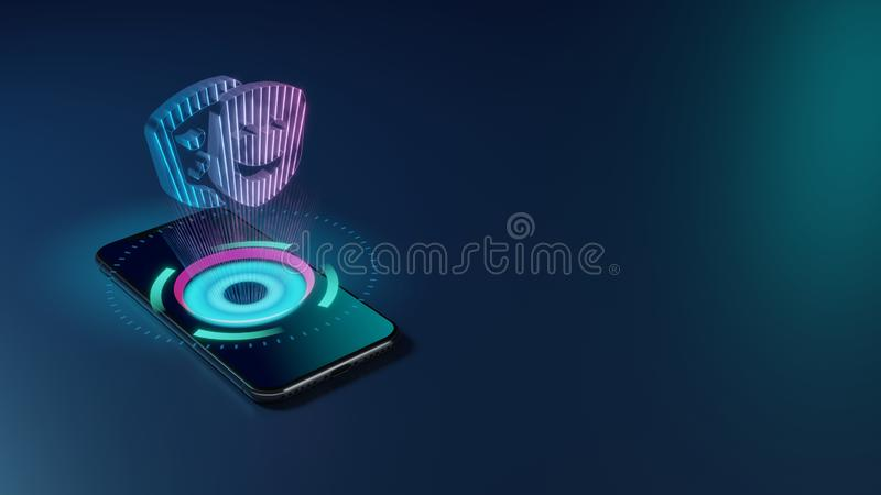 3D rendering neon holographic phone symbol of theater masks icon on dark background stock illustration