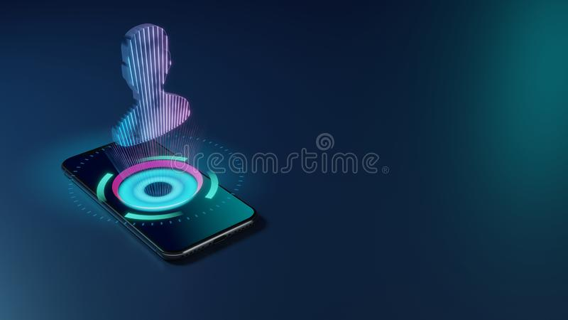 3D rendering neon holographic phone symbol of user icon on dark background stock illustration