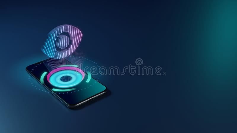 3D rendering neon holographic phone symbol of visibility button icon on dark background vector illustration