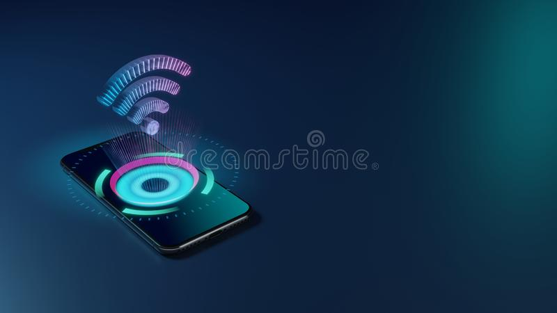 3D rendering neon holographic phone symbol of Wi-Fi 1 icon on dark background royalty free illustration
