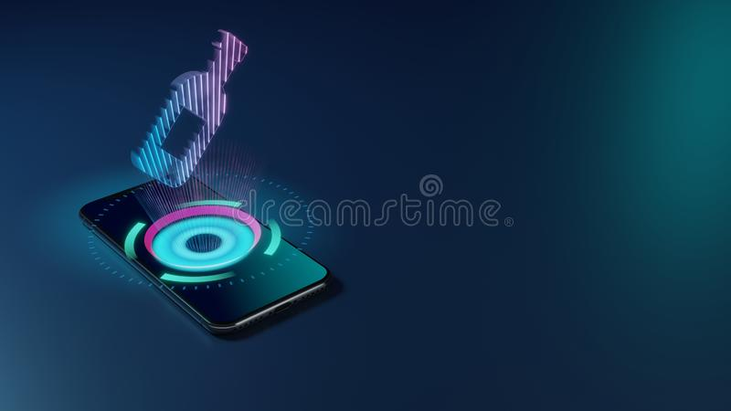 3D rendering neon holographic phone symbol of wine bottle icon on dark background royalty free illustration