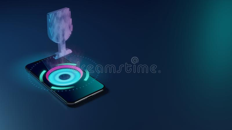3D rendering neon holographic phone symbol of wine glass icon on dark background stock illustration