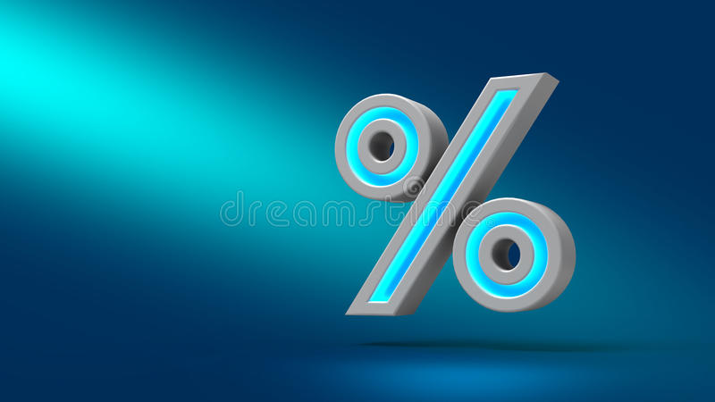 3D rendering neon percent sign isolated on blue background. stock illustration