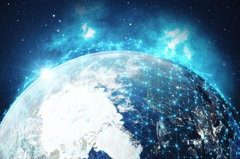 3D rendering Network and data exchange over planet earth in space. Connection lines Around Earth Globe. Global. International Connectivity, Elements of this vector illustration