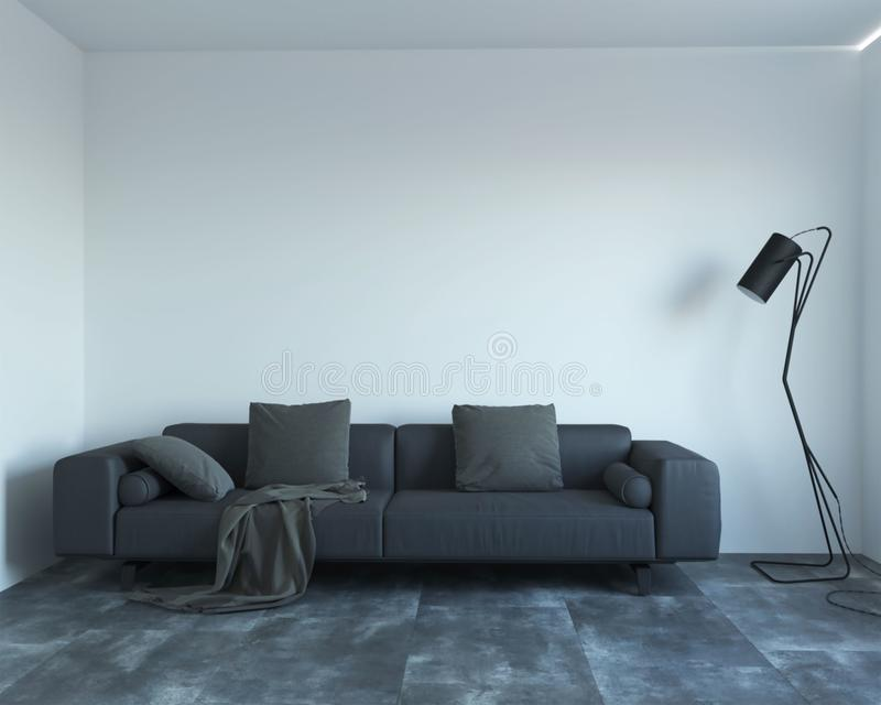 3d rendering of new contemporary interior with grey sofa royalty free illustration