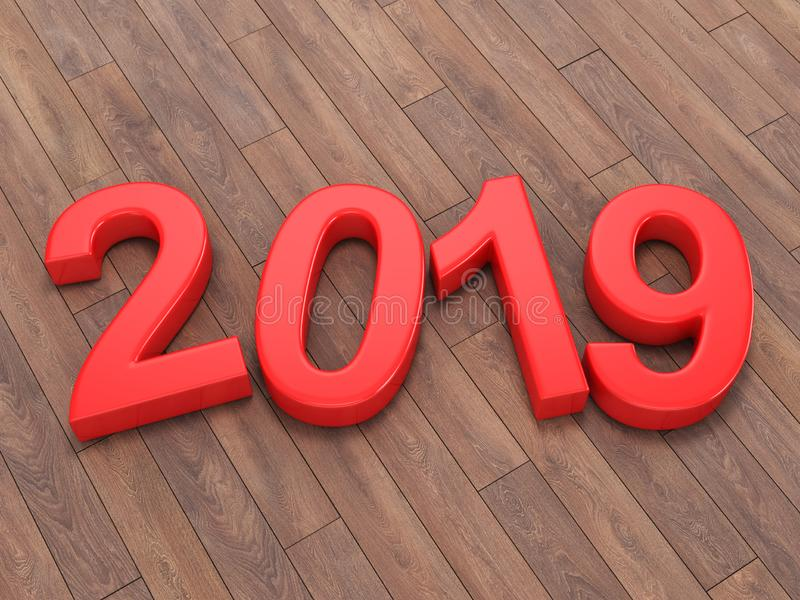 3D rendering 2019 New Year red digits vector illustration