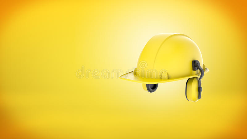 3d rendering of a new yellow construction hard hat with ear muffs attached on yellow background. vector illustration
