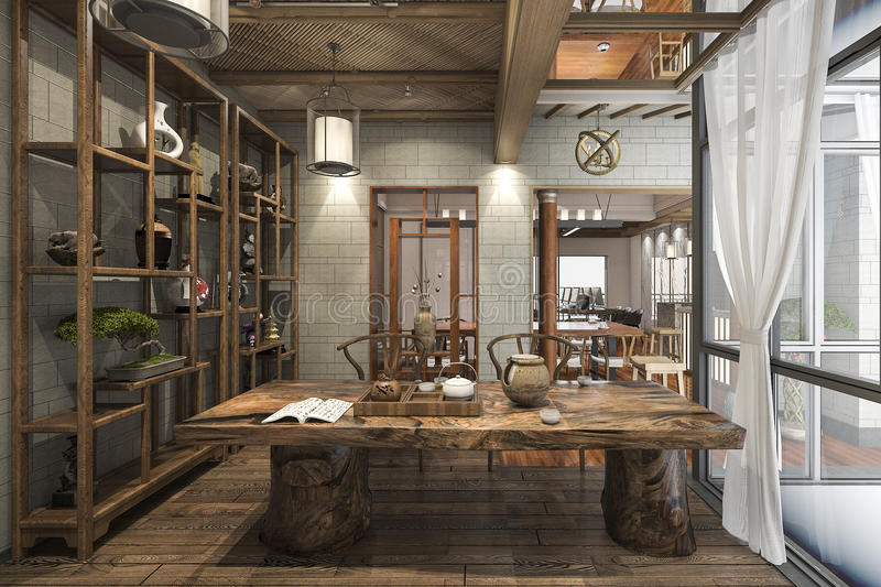3d Rendering Nice Design Chinese Working Room With Decoration Stock ...