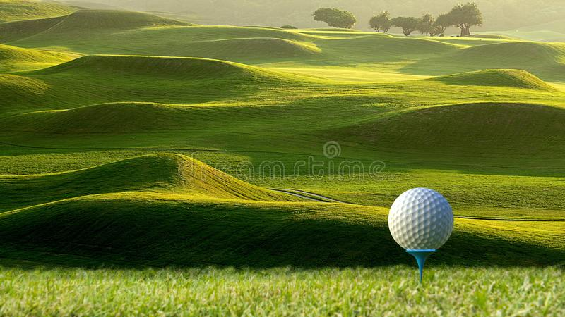 3d rendering of nice view of golf ball on the holder with golf f stock images