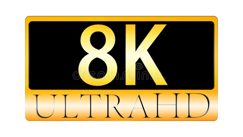 3d rendering of nice view of Ultra HD 8K ICON royalty free illustration