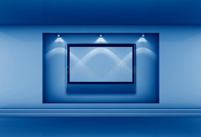 3D rendering niche with lcd tv and spotlights for exhibit in interior toned in trendy Classic Blue color of the Year 2020 royalty free illustration