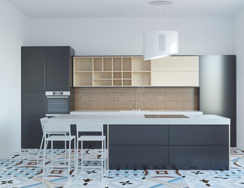 3d rendering nowa nowożytna czarna kuchnia ilustracja wektor