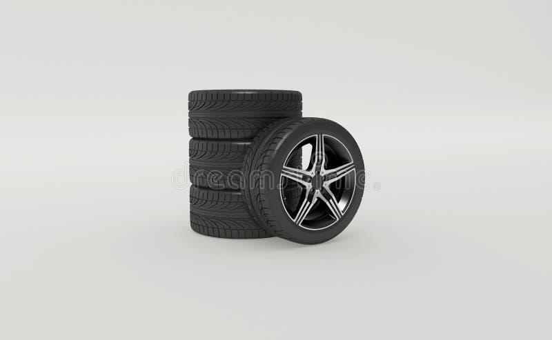 3d rendering nowe nieużywane samochodowe opony ilustracji