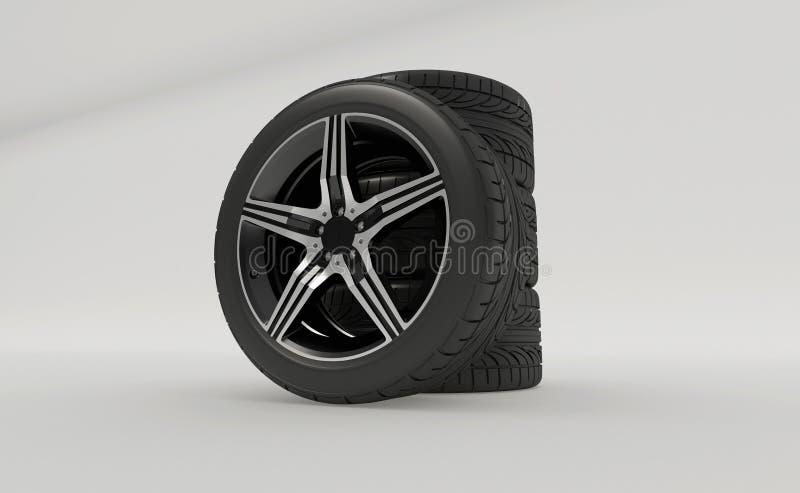 3d rendering nowe nieużywane samochodowe opony royalty ilustracja