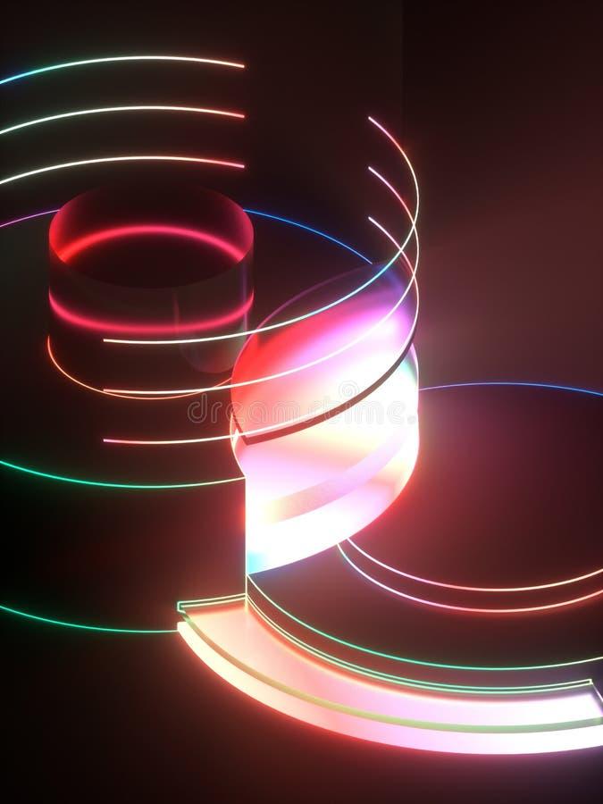 3d rendering, nowożytny abstrakcjonistyczny geometryczny tło, minimalistic pusta gablota wystawowa, błyszczy neonowego światło, p ilustracji
