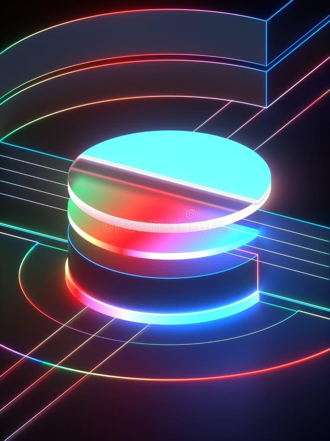 3d rendering, nowożytny abstrakcjonistyczny geometryczny tło, minimalistic pusta gablota wystawowa, rozjarzony neonowy światło, p royalty ilustracja