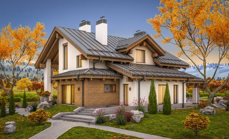 3d rendering nowożytny dom w wieczór jesieni fotografia stock