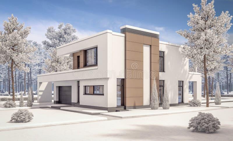 3d rendering nowożytny zima dom