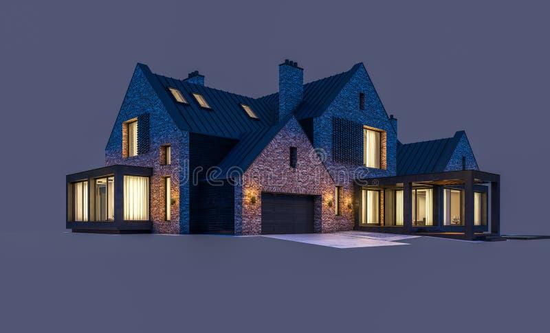 3d rendering nowo?ytny klinkieru dom na stawach z basenem w nocy odizolowywaj?cej na szaro?? ilustracji