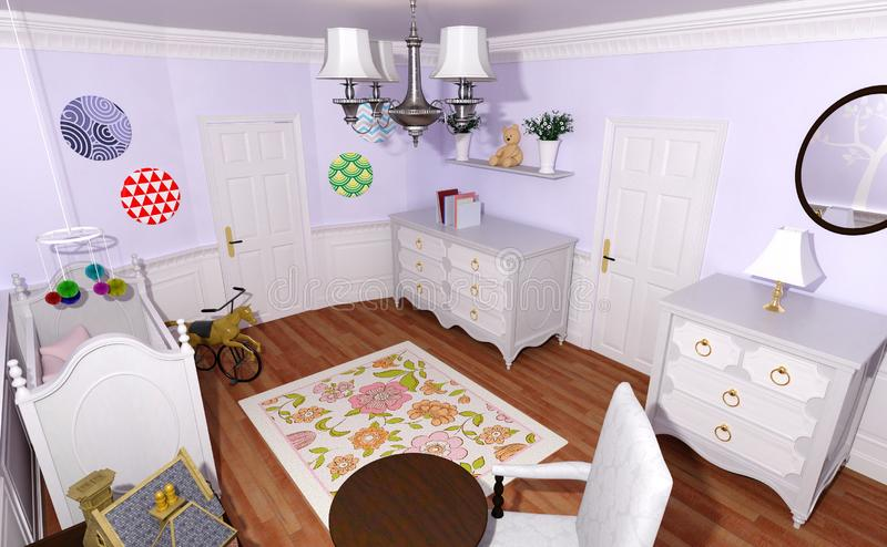 Exterior: Interior Of The Child-room 3D Rendering Stock Illustration