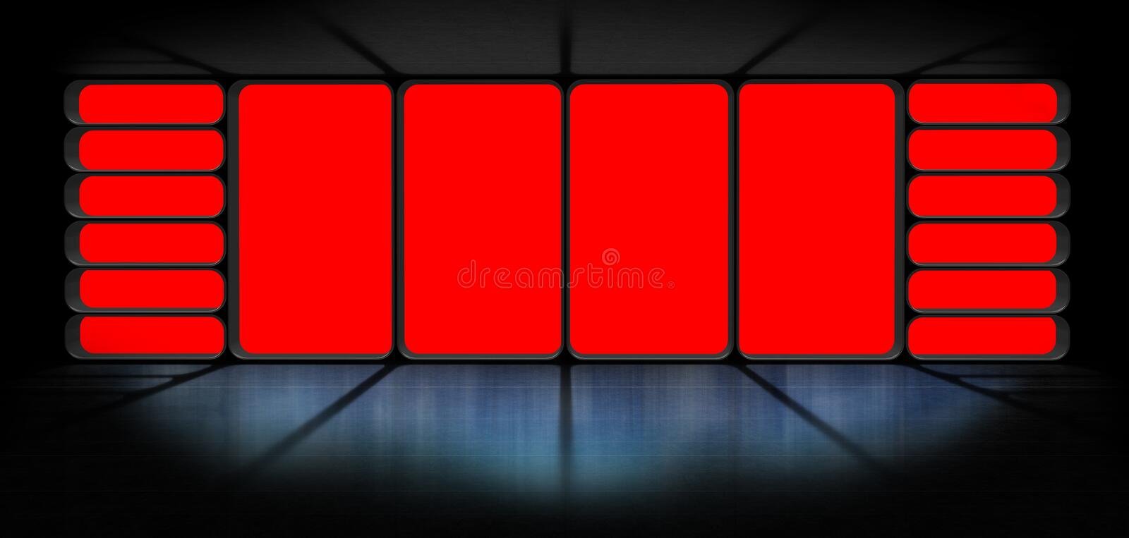 3D rendering of an observatory space station. Space station observatory with red background window 3D rendering royalty free illustration