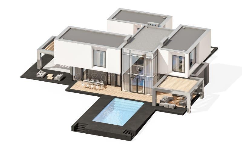 3d rendering odizolowywający na bielu nowożytny dom zdjęcia stock