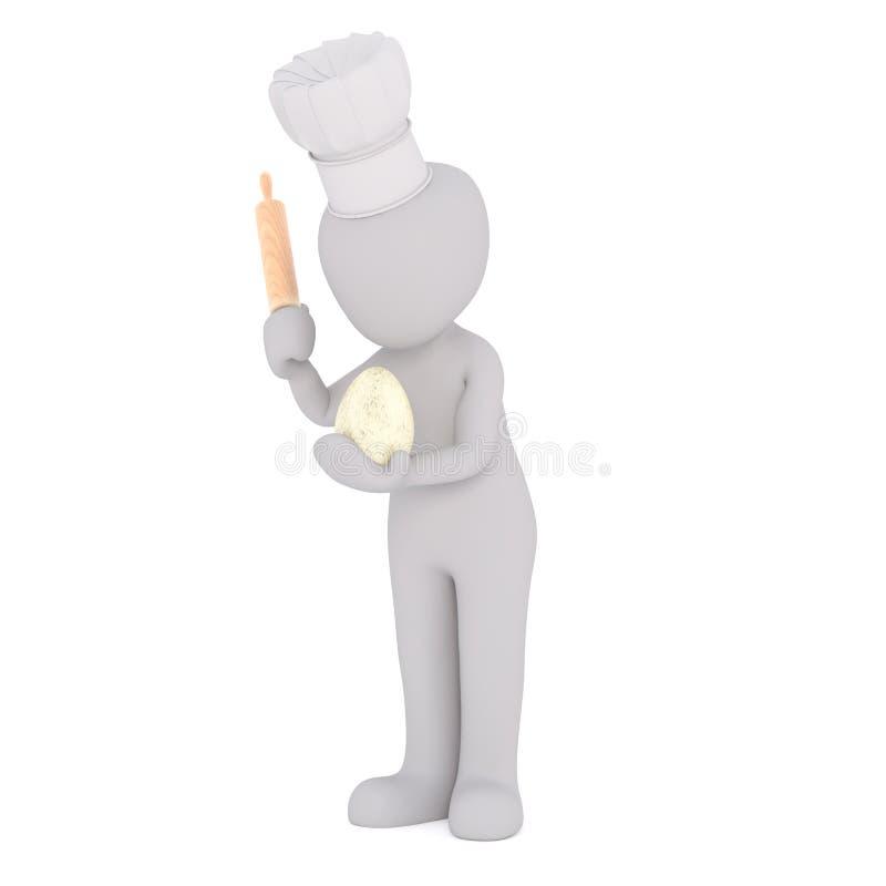 3D rendering odludny kucharz z toczną szpilką ilustracja wektor