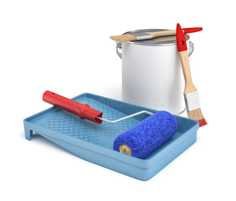 3d rendering odosobneni domowego ulepszenia narzędzia: farby wiadro, taca, muśnięcia i rolownik, ilustracji