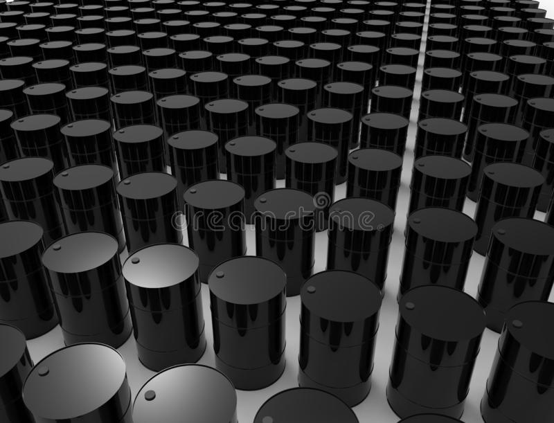 3D rendering of oil barrels isolated in white studio background. royalty free illustration