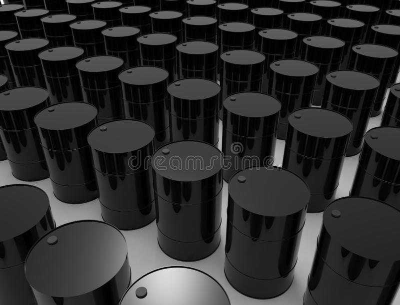 3D rendering of oil barrels isolated in white studio background. vector illustration