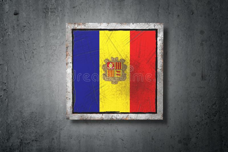 Andorra flag in concrete wall vector illustration