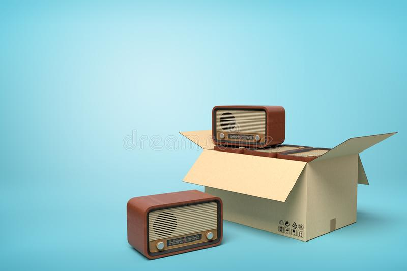 3d rendering of old-fashioned radios in carton box on blue background. royalty free stock photos