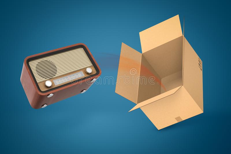 3d rendering of old radio set and empty cardboard box on blue background. vector illustration