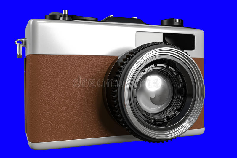 3d rendering of old retro camera on a blue background f. Or easy to split out royalty free illustration