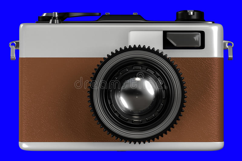 3d rendering of old retro camera on a blue background f. Or easy to split out stock illustration